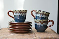 Vintage Terracotta and Blue Glazed Cups and by Swhirlingdervish