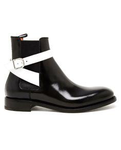 Balenciaga B & W Leather Ankle Boots