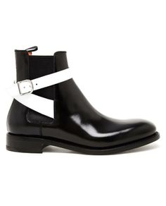 Balenciaga B & W Leather Ankle Boots