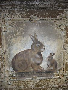 hand painted rabbits on ceiling tin tile