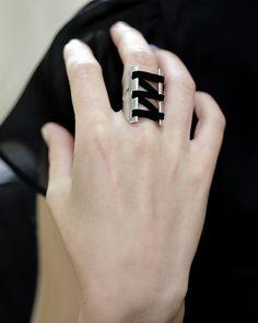 Unisexe 925 argent noir en cuir Corset anneau, anneau de corset avant ouvert, BDSM, RS1046