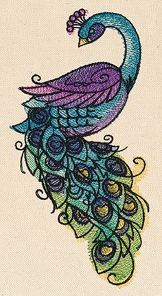 Painted Peacock - Thread List | Urban Threads: Unique and Awesome Embroidery Designs