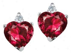Heart Shape Creaed Ruby And Genuinee Diamonds Earring Studs