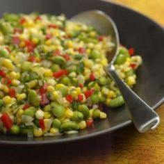 Herbed Corn & Edamame Succotash Recipe. I make an easier recipe edamames, corn & a bag of frozen California blend veggies.