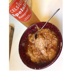 Pumpkin pie spice  oats with PB and WF caramel sauce, obvi a celsius on the side.