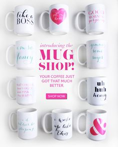 Moon and Lola Mug Shop is OPEN! I'm so fancy! Like a boss! & , Good Morning Gorgeous! Your coffee just got that much better!