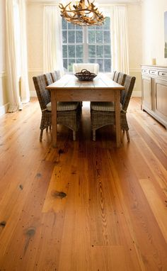 These are the floors for the great room, kitchen, dining room, and hallways - beautifully rustic and authentic.  Hermitage Heart Pine floors by Mountain Lumber.