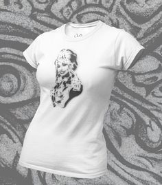 Custom Dolly t shirt designed by me, original is stencil, pencil and white paint pen. The image is printed on premium, ethicaly manufactured cotton - soft as you like! Click on the pin for more details, you'll look great in this! White Paint Pen, Organic Cotton T Shirts, Paint Pens, Custom Clothes, Stencil, Looks Great, Shirt Designs, T Shirts For Women, Printed