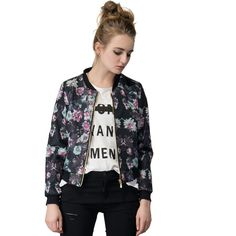 Choies Multicolor Floral Print Long Sleeve Bomber Jacket ($36) ❤ liked on Polyvore featuring outerwear, jackets, multi, flower print bomber jacket, bomber jacket, multi color jacket, flower print jacket and long sleeve jacket