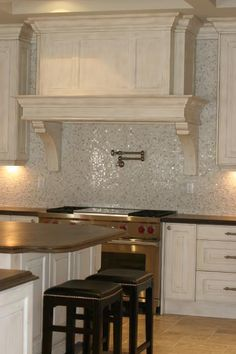 Mother of pearl backsplash in the kitchen