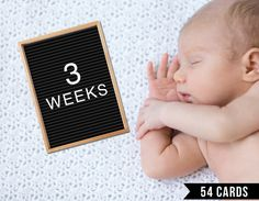 Baby Milestone Cards, Gender Neutral, Letter Board, Black and White, Weekly, Photo Prop, Photo Sign, First Year, Printable, Print, Vintage by EyePop Designs