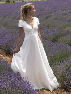 Wedding Dress Chiffon, White Wedding Dresses, Cheap Wedding Dress, Bridal Dresses, Long Sleeve Wedding, Simple Weddings, Women's Fashion Dresses, Marie, Short Sleeves