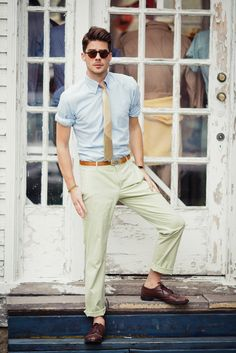 This is why I like khaki colored pants with a blue shirt and brown pants. Pulls it all together.   @Michael Cannaverde