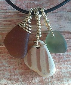 """Genuine Hawaii Surf Tumbled Sea Glass Jewelry Necklace Beach Pottery 23"""" Leather…"""