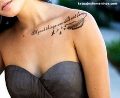 Clavicle tattoo Tattoos for women and Tattoos and body art on . Clavicle Tattoo, Tattoo Motive, Piercing Tattoo, Piercings, Collarbone Quote Tattoos, Tattoo Muster, Feather Tattoos, Body Art Tattoos, Tatoos