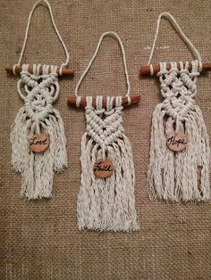 Cinnamon stick Macrame hangings set of 3