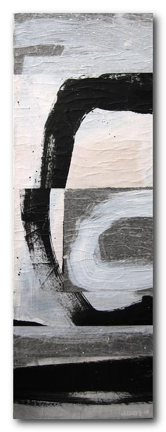 Black and White / Collage / Original Abstract / 36 x 12 / By Edmond Lacoste. $227.10, via Etsy.