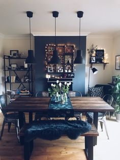 42 Best Dining Room Lighting Ideas For 2019 - Home Decorating Inspiration Room, Home Living Room, Dining Room Walls, Living Dining Room, Living Room Decor, Dining Room Combo, Home Decor, Living Room Dining Room Combo, Home And Living