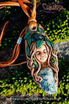 Chanoja-Goddess Gyhldeptis Forest Sprite Fairy Pendant-rough dark green apatite green peridot turquoise unique polymer clay leaves