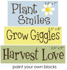 Primitive Block STENCIL Plant Smiles Grow Giggles Harvest Love Country Signs | eBay