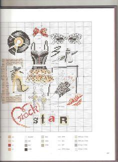 0 point de croix vetements et accessoires rock star - cross stitch clothes and accessories