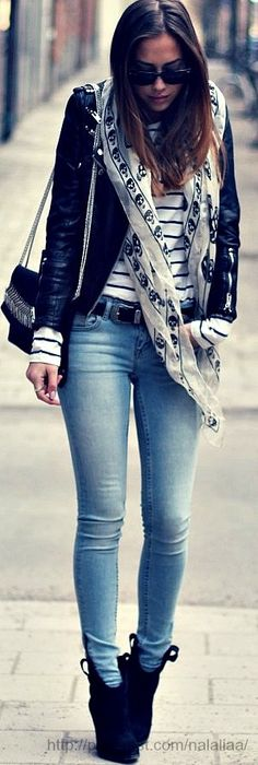 Clothes nice casual outfit which can be spiced up with a coloured scarf Denim Fashion, Look Fashion, Fashion Outfits, Womens Fashion, Fashion Trends, Teen Fashion, Fall Fashion, Latest Fashion, Looks Street Style