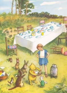 This original antique classic pooh print features Pooh Bear, Christopher Robin and Piglet, with Owl, Rabbit and Kanga looking on, the Tea Table is in the background.