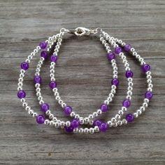 Triple Strand Purple & Silver Simple Beaded Bracelet on Etsy, $20.00
