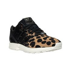 Adidas Women's ZX Flux Casual Shoes, Black ($60) ❤ liked on Polyvore featuring shoes, black, leather shoes, black cage shoes, caged shoes, black shoes and kohl shoes