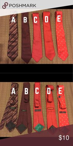 🔻5 for $25🔻 SALE Men's ties - brands are: A- Van heusen; B-DKNY; C- Tommy Hilfiger; D- festive occasions; E- American Greetings Accessories Ties
