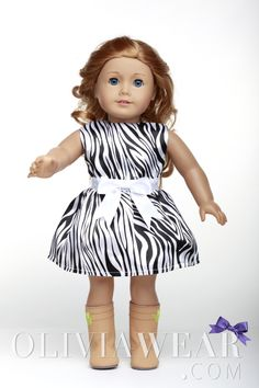 American Girl Clothes Collection #60 Black and White Zebra Pattern Dress