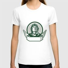 Pilot World War One Circle Retro T-shirt. Illustration of a vintage world war one pilot airman aviator bust looking up viewed from front with winged scroll in front set inside circle done in retro style. #illustration #PilotWorldWarOne
