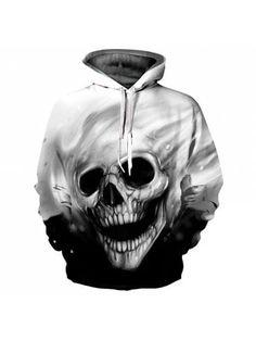 Men's Casual 3D Print Hoodie Cave Head Print Sweatshirt