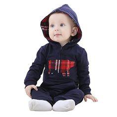 MICHLEY Herbst kleiner Junge vermummte overall baby strampler bekleidung JY063-dunkelblau 90cm