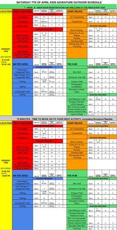 Schedule - Kids Adventure Outdoors - Anglesea