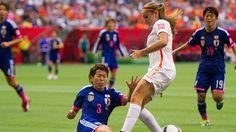 Lieke Martens #11 of the Netherlands and Azusa Iwashimizu #3 of Japan