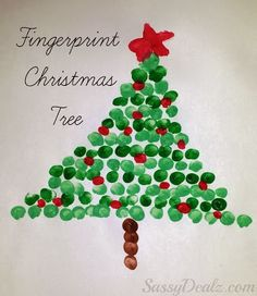 Carta impresa con los dedos... preciosa ! ... christmas fingerprint crafts for kids tree