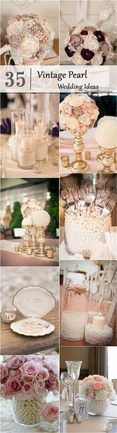 63 Super Ideas For Vintage Wedding Centerpieces Diy Centre Pieces Vintage Wedding Centerpieces, Vintage Wedding Theme, Diy Centerpieces, Wedding Themes, Table Decorations, Pearl Wedding Decorations, Party Themes, Party Ideas, Themed Weddings