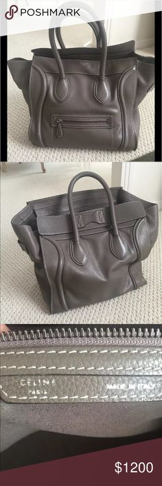 Authentic Celine gray mini luggage handbag Absolutely gorgeous Celine bag. Taupe (Gray )color. Worn but in good condition. Retail was $3000.00 Celine Bags Totes