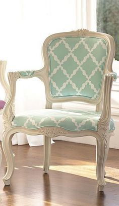 Beautiful chair! Get old one, paint the frame and recover like this?