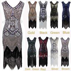1920s Flapper Dress Gatsby Sequins Beaded Vintage Party Costume Plus Size XS-XXL