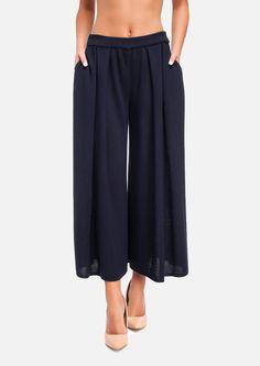 Трикотажные расклешенная юбка-брюки / цвет синий / сезон весна-лето