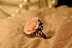 Pink Antique Brass Filigree Ring Cocktail by ArtNGiftsontheFritz, $10.00