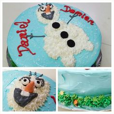 Olaf è snowman sponge cake covered covered with Frosty whipped cream.
