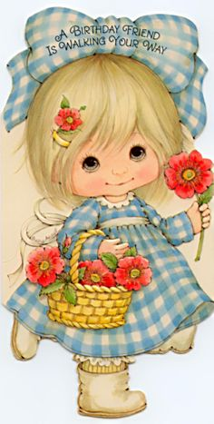 Risultati immagini per suzy angel Vintage Birthday Cards, Vintage Greeting Cards, Cute Images, Cute Pictures, Holly Hobbie, Precious Children, Baby Art, Cute Dolls, Cute Illustration