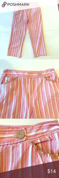 "Talbots Lightweight Striped Pants Talbots pants in terrific condition! Very lightweight and wonderful for summer! Lovely pink and white stripe. Beachy burlap-style trim. 34.5"" long. 89% cotton, 3% spandex, 8% other fibers. Size 12. Talbots Pants"