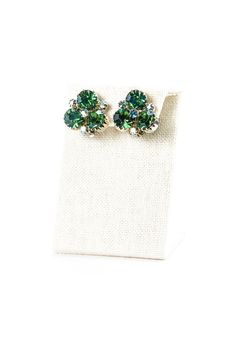 Vintage Emerald Green Rhinestone Clip On Earrings from Sweet & Spark, Curated Vintage Jewelry