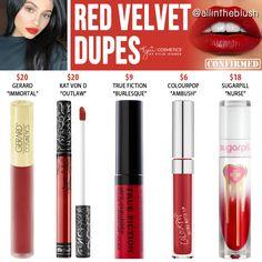 Kylie Cosmetics Red Velvet Liquid Lipstick Dupes Lipstick For Fair Skin, Lipstick Art, Lipstick Dupes, Lipstick Swatches, Lipstick Colors, Liquid Lipstick, Lip Colors, Kylie Lipstick, Lipstick Pencil