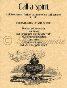 Call-a-Spirit-Spell-Book-of-Shadows-Page-BOS-Pages-Summoning-Spells-Wicca Prudent en parlent des esprits. Careful when talking with spirits. Witch Spell Book, Witchcraft Spell Books, Magick Spells, Wicca Witchcraft, Voodoo Spells, Wiccan Spells Money, Demon Spells, Wiccan Books, Gypsy Spells