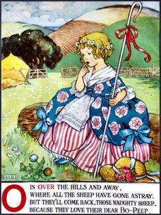 illustration by E. Childrens Alphabet, Alphabet Poem, Little Bo Peep, Vintage Children's Books, Vintage Postcards, Book Illustration, Nursery Rhymes, Illustrations Posters, Vintage Illustrations